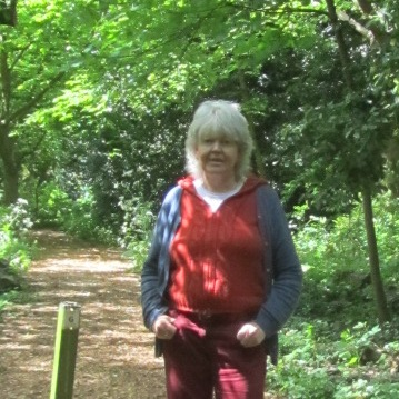 Margaret Holmes, Trustee, in the woodland